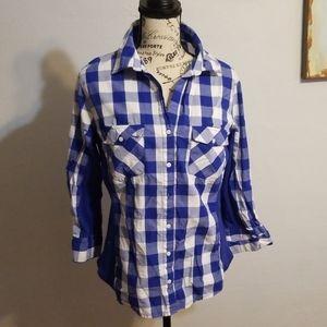 Womens XL blue and white checkered shirt